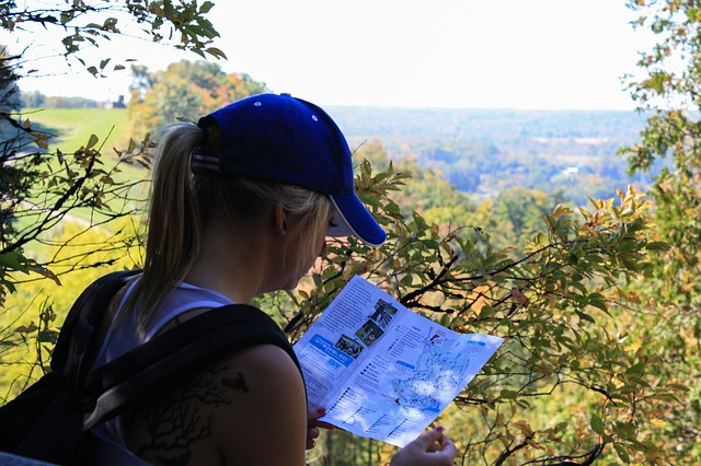 checking direction using a hiking map